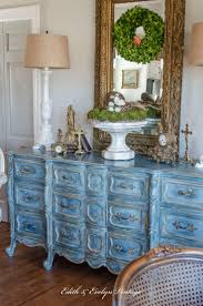 The one piece of furniture in our home that gets the most attention and  comments has to be the blue French Provincial dresser in our  kitchen/breakfast room.