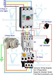 contactor wiring guide for 3 phase motor circuit breaker contactor wiring diagram