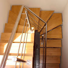 half turn staircase stainless steel frame wooden steps without risers