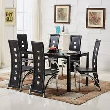 dining room set 6 chairs. modern black glass dining table set and 4 / 6 faux leather chairs kitchen room