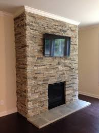 stacked stone interior fireplace