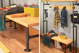 build a bench coat rack from pipes