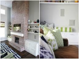 brick fireplace with built ins fireplace floating mantel shelf