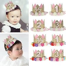 Baby Girl Birthday Cake Party Hat Flower Princess Crown Decor Hair