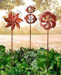 sets of 3 classic garden wind spinners rustic copper