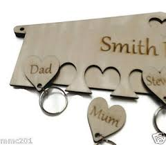 personalised wooden key holder hearts