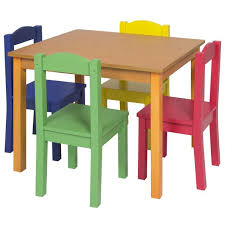 bc kids wooden table 4 chair set primary