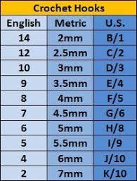 Crochet Hook Conversion Chart 4u Hf Crochet Hook
