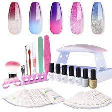 Gel Nail Polish Starter Kit With 6w Uv Led Nail Dryer Manicure Tools 5 Color Changing Gel Polish