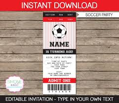 Invitation Ticket Template New Soccer Ticket Invitation Template Birthday Party Red And Black