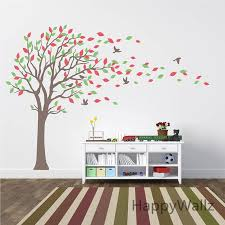 large tree wall stickers baby nursery tree wall decals leaves birds family tree wallpaper kids room diy removable wall decor t27 wall saying decals wall