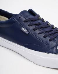 men vans leather court trainers in blue vans blue