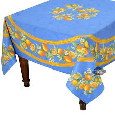 square tablecloths round lemons blue coated cotton tablecloth by paper uk