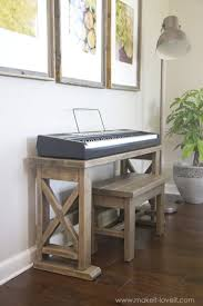 being a mom who recently bought a digital piano for my daughter i was super excited when i came across this super cool diy piano stand and bench
