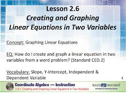 ppt 1 3 1 creating and graphing linear equations in two variables powerpoint presentation id 4390912