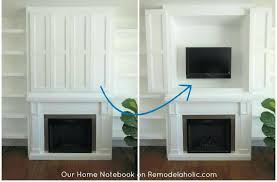 mounting tv above fireplace hiding wires nook in fireplace shelving unit our home notebook wall