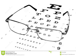 Glasses In A Silver Rimmed On The Snellen Eye Chart Stock