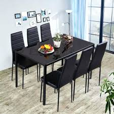 glass table and 6 chairs 7 pieces dining table black glass table and 6 chairs faux