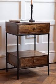 split level 2 drawer mango wood bedside