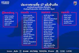 ทีมชาติไทยประกาศรายชื่อ 47 แข้งเก็บตัวก่อนตัดชื่อลุย ฟุตบอลโลกรอบคัดเลือก  ธนวัฒน์ เจ้าหนู เลสเตอร์ ติดโผ