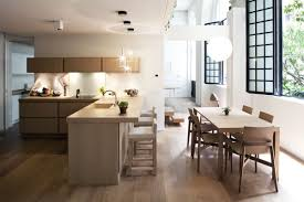 contemporary dining room island wood table