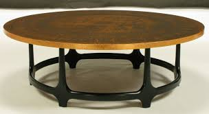 brown interior round copper coffee table relief modern furnitrue simple black steel metal legs basic