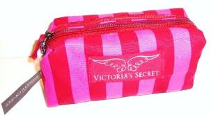 victoria s secret supermodel essentials canvas angel wing hot pink striped cosmetics make up bag