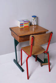 vintage childs desk and chair blue ticking wooden school with green metal legs red table chairs