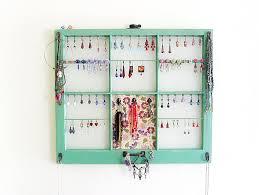 Hanging Necklace Organizer Upcycled Window Frame Green Jewelry Holder Jewelry Storage Wall