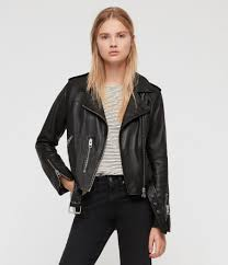 womens balfern leather biker jacket black image 1