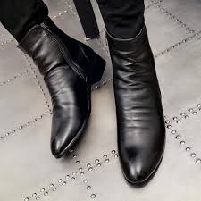 saan bibili england hight top leather shoes men korean style shoes short boots elevator pointed leather boot men s shoes casual shoes martin boots man