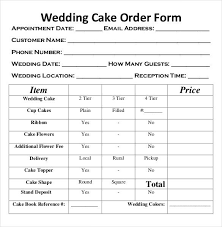 Wedding Cake Order Form Templates Bakery Order Template 20 Free