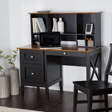 Furniture. rectangle black Wooden Desk with racks and drawers also brown  wooden top on black