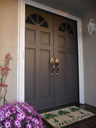 white double front door. Doors, Double Front Doors Entry Fiberglass Dark Grey With Metal Door White