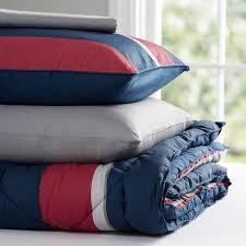 block stripe value comforter set navy red