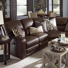 Wonderful Classic Style Dark Brown Leather Living Room Sectional - Leather livingroom