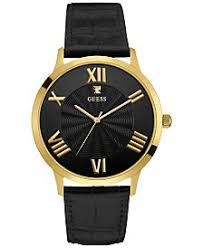 guess guess macy s guess men s diamond accent black leather strap watch 43mm u0794g1