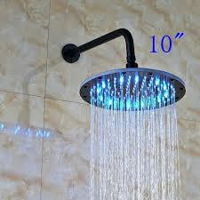led rainfall oil rubbed bronze shower head round top sprayer w wall mount venetian and faucet