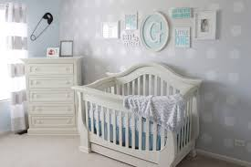 blue and gray boy s nursery with polka dot accent wall project nursery