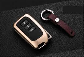 1pc for lexus remote key fob cover aircraft aluminum case genuine leather keychain