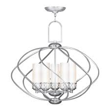 livex lighting westfield brushed nickel chandelier with cylindrical shade