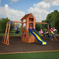 wooden swing sets clearance wood playsets backyard playset
