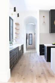 modern kitchen black and white. Modern Kitchen Black Cabinets White Oak Open Shelving Double Islands And