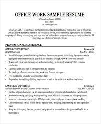 Office Work Resume Sample