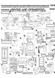 kitchen furniture names. english worksheet house and pieces of furniture kitchen names