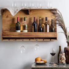 reclaimed wood wall mounted wine bottle stemware rack