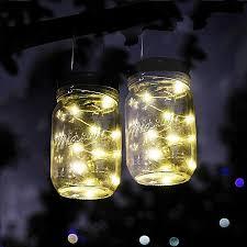 lighting jar. Solar Powered Mason Jar Lights,3 Pack Garden Decor Lights 20 LED Lighting