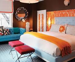 Colors: blue, orange, brown, white, crimson in the bedroom
