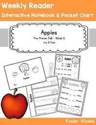 Apple Tree Pocket Chart Pre Primer Week 6 Apples Reader Notebook Pocket Chart