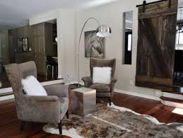 cozy living room with a pallet sliding door